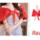 NWT Size M Red Wedding Wrap Faux Fur Bridal Shawl Bolero Shrug Satin Ribbons US