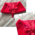 Value Red Bridal Wrap Faux Fur Shawl Shrug Bolero Satin Ribbons Size Plus L-XL