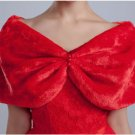 NWT Red Pearls Faux Fur Wedding Shawl Bridal Wrap Bolero Overhead One Size XXS-M