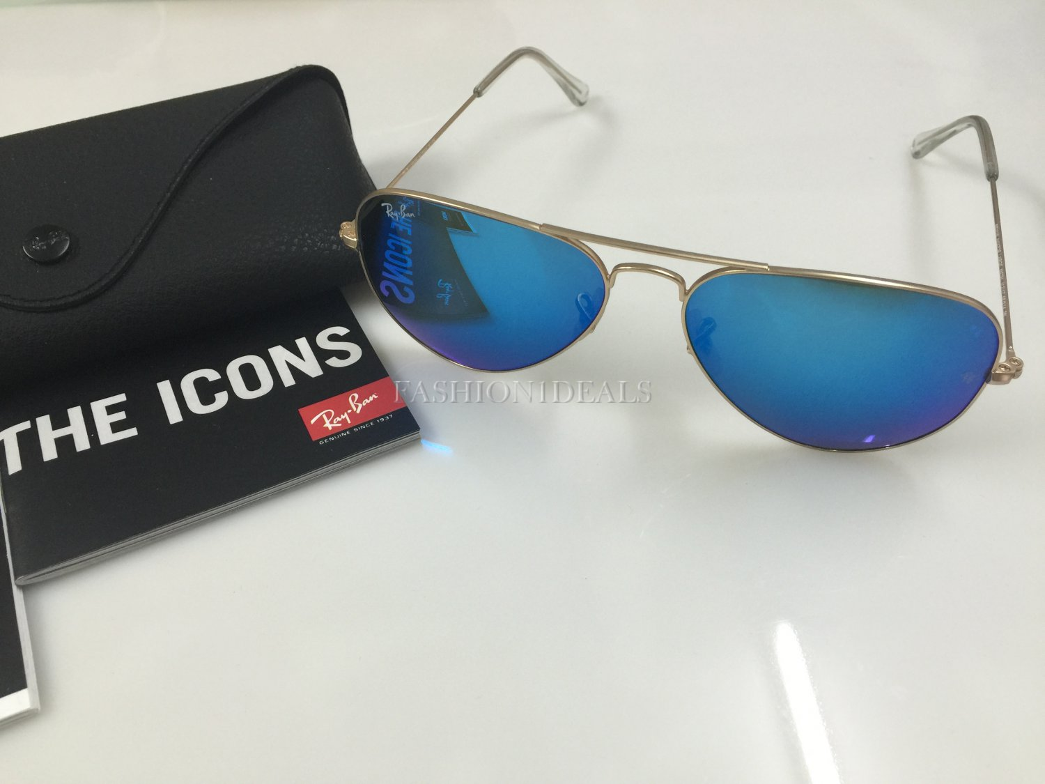 100% AUTHENTIC 3025 112/17 BLUE MIRROR GOLD FRAME RAY BAN LARGE AVIATOR SUNGLASSES