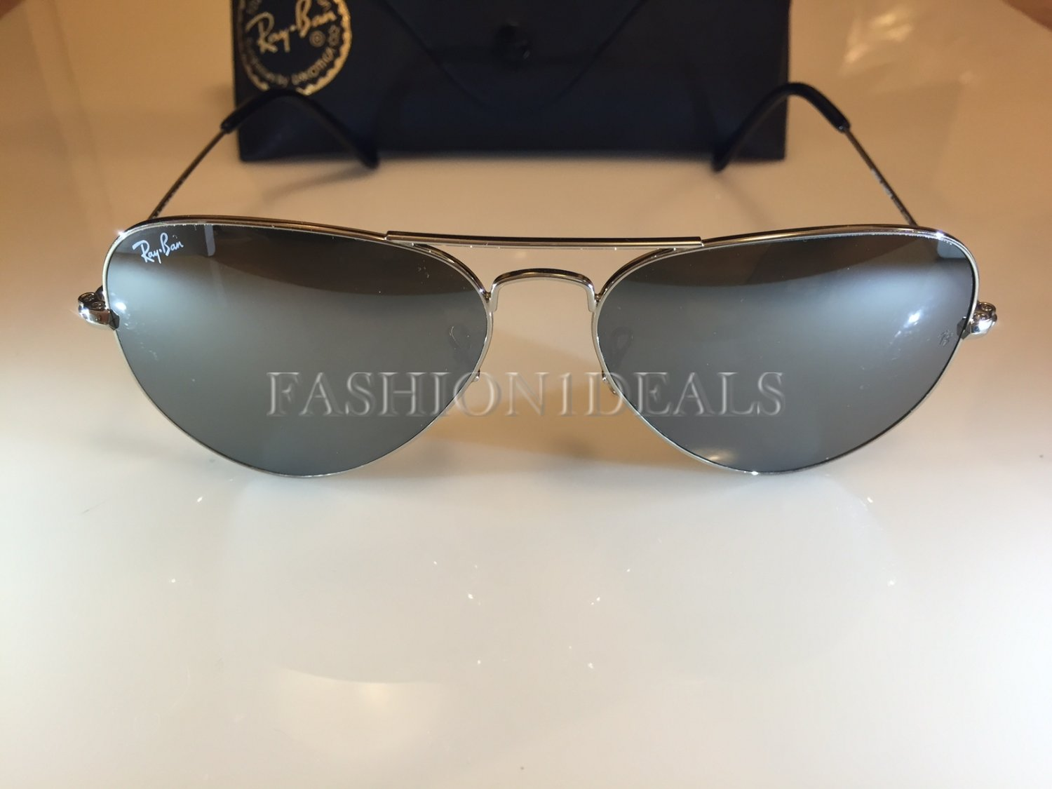 100% AUTHENTIC 3025 W3277 SILVER MIRROR RAY BAN LARGE AVIATOR SUNGLASSES