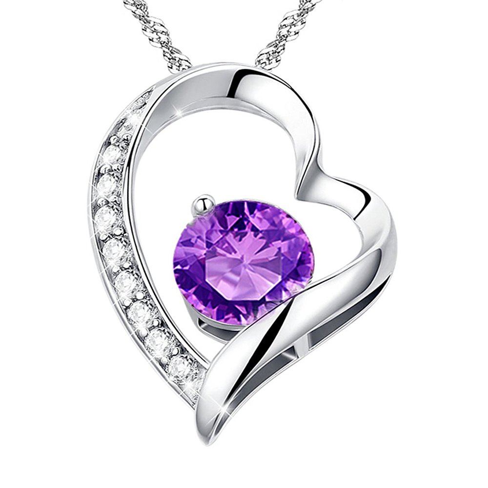 Necklace Heart Shaped Platinum Plated with Cubic Zircon
