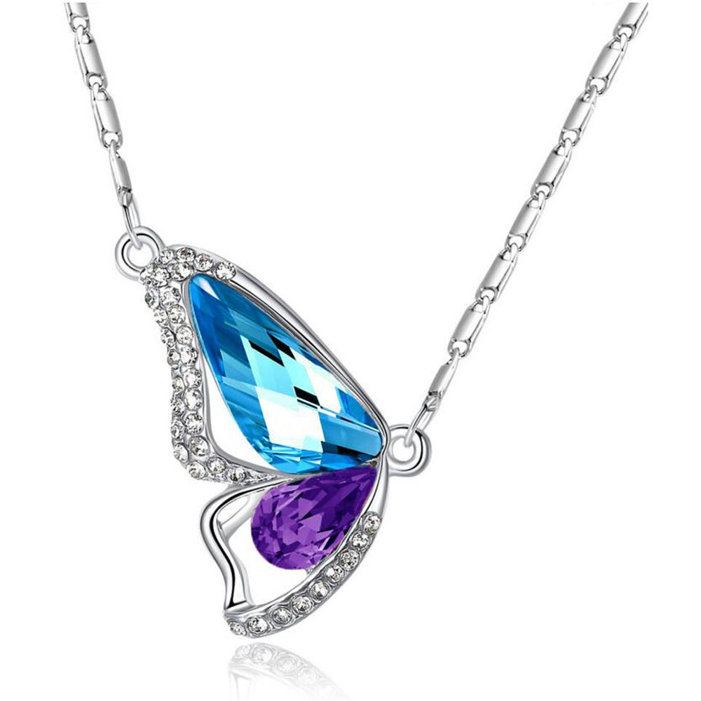 Pendant Necklace Butterfly Silver Tone Adorned with Swarovski Elements