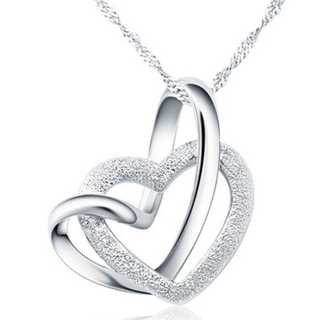 Double Heart Grind Arenaceous Silver Tone Pendant Necklace