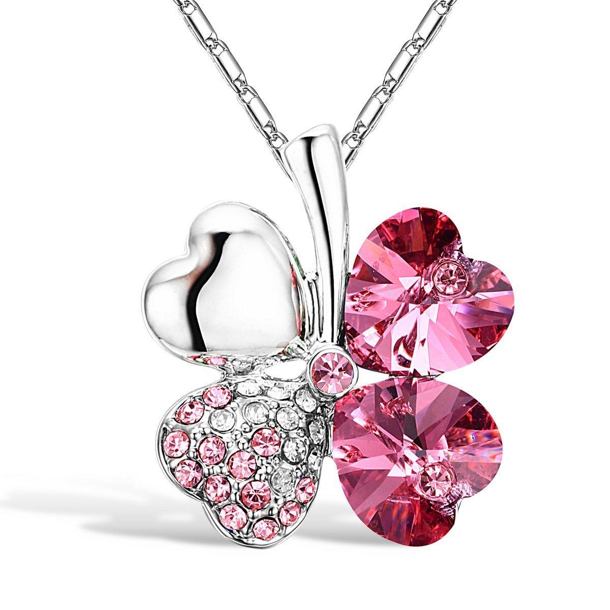 Leaf Clover Heart Shaped Crystal Pendant Necklace