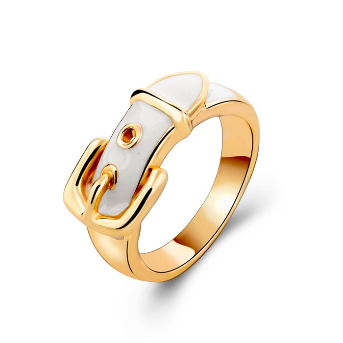 Enamel Belt Buckle Gold Plated Ring