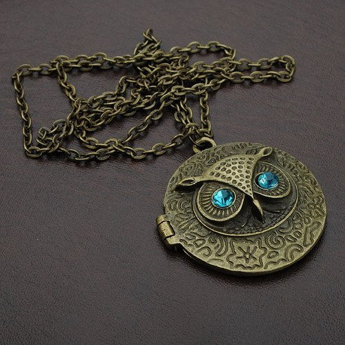 Antique Bronze Blue Eyed Alloy Owl Round Retro Necklace