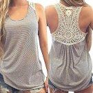 Women Summer Sleeveless Gray & White Striped Tank Top - Crochet Back