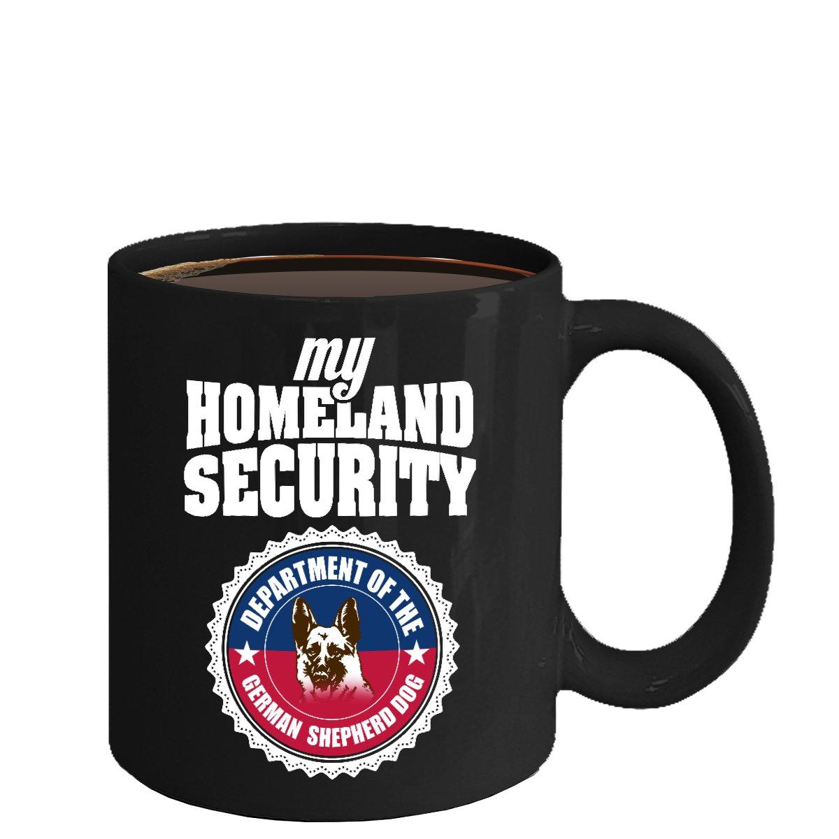 German Shepherd Ceramic Coffee Mug - Homeland Security - Cute Large Cup (Black) - Best Gift