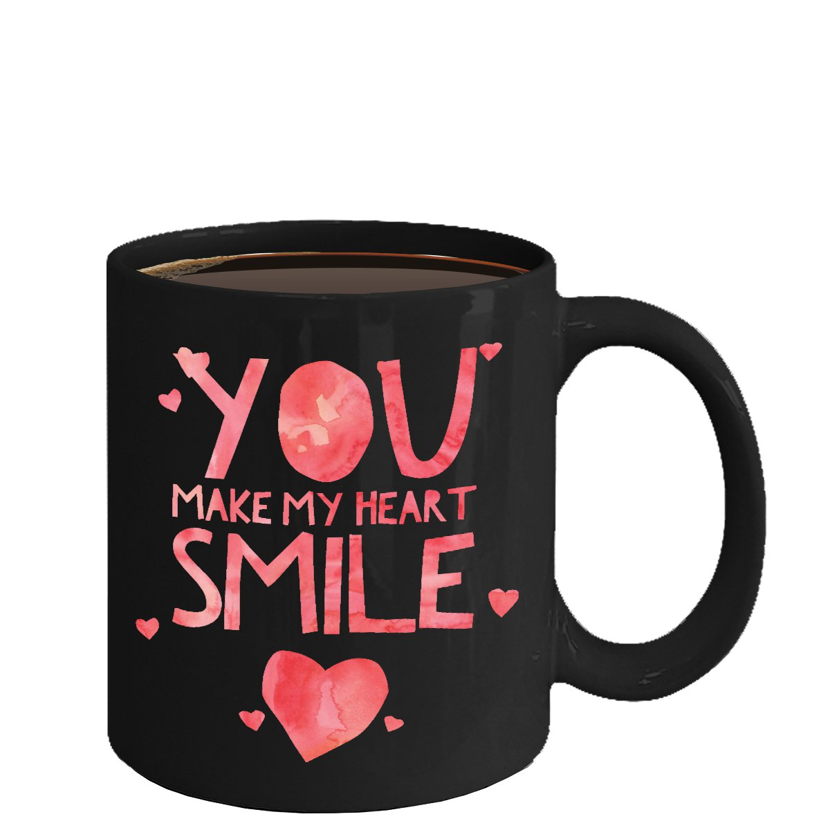 Love Ceramic Coffee Mug - You Make My Heart Smile - Cute Large Cup (Black) - Best Gift for Men,Women
