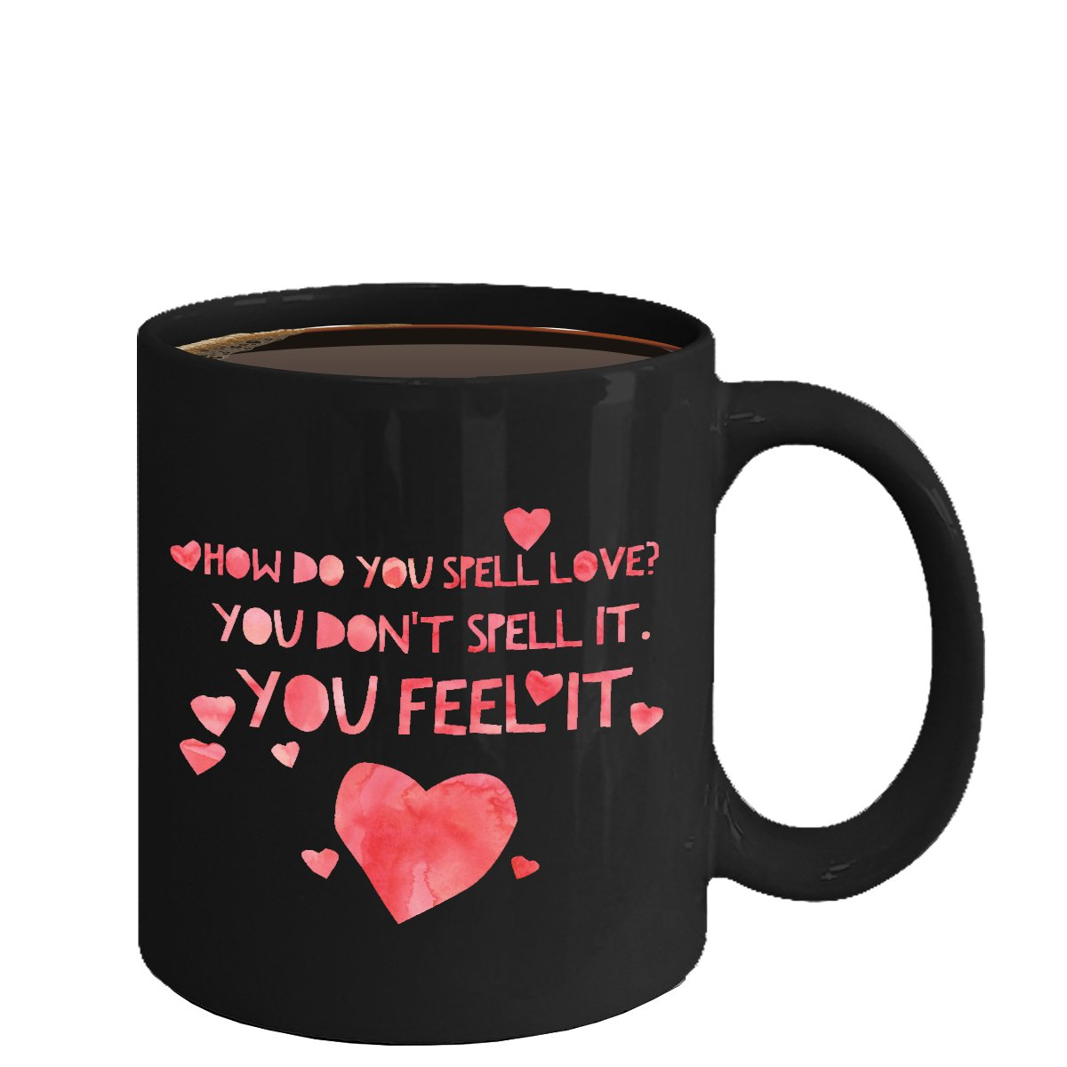 Love Ceramic Coffee Mug - Spell Love - Cute Large Cup (Black) - Best Gift for Men, Women
