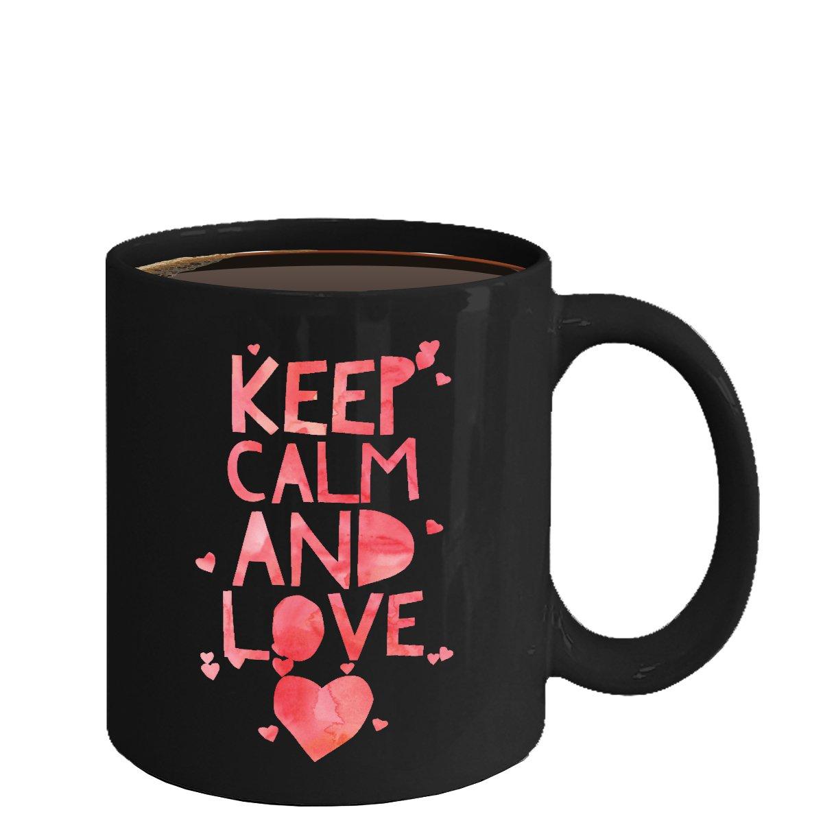 Love Ceramic Coffee Mug - Keep Calm and Love - Cute Large Cup (Black) - Best Gift for Men, Women