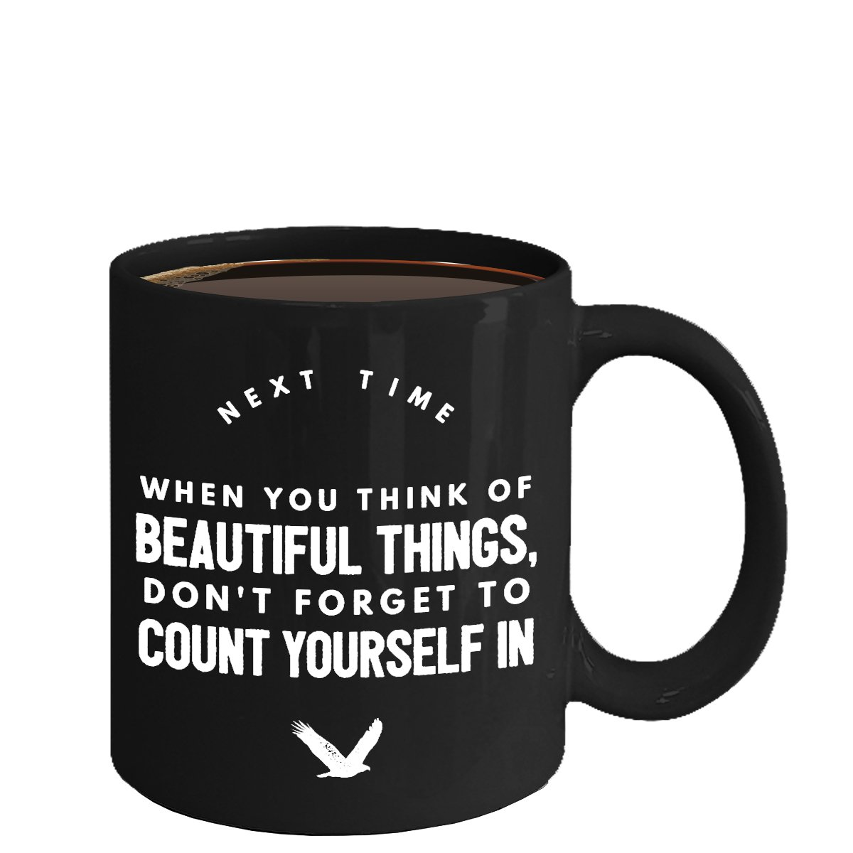 Inspirational Ceramic Coffee Mug - Count Yourself - Cool Large Cup (Black) - Best Gift for Men,Women