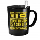 Funny Ceramic Coffee Mug - Respond With Sarcasm - Cute Large Cup (Black) - Best Gift for Men, Women