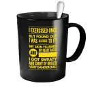 Funny Ceramic Coffee Mug - Allergic to Exercise - Cute Large Cup (Black) - Best Gift for Men, Women