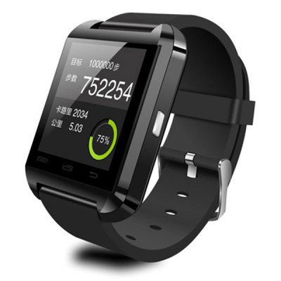 Touch Screen Smartwatch U8 Answer and Dial the Phone Bluetooth Photograph Altitude Meter  -  BLACK
