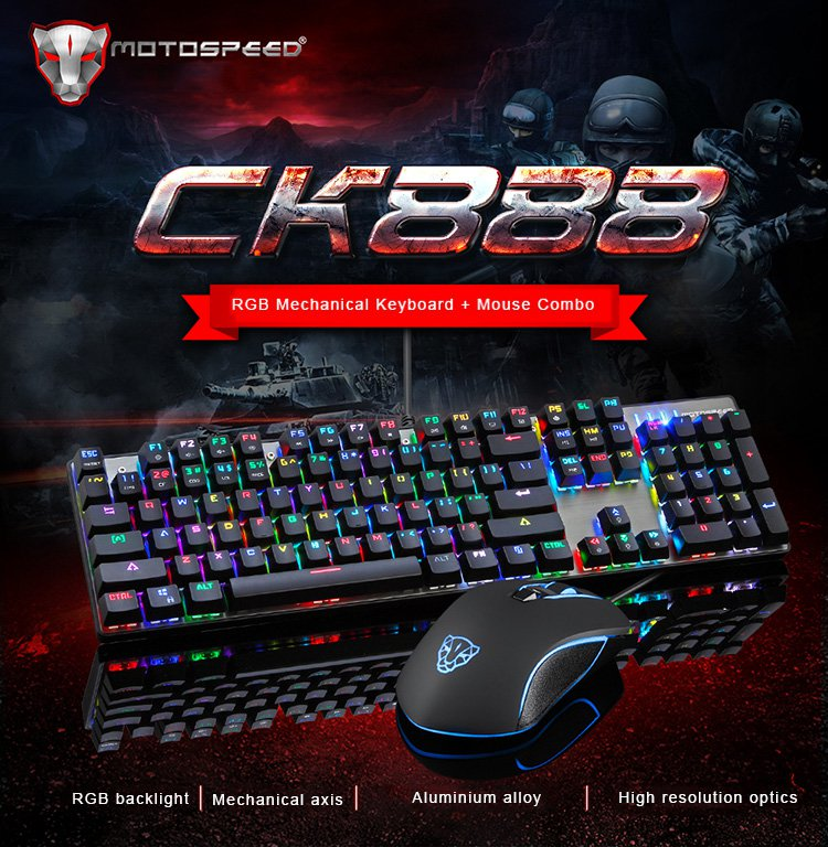 Motospeed CK888 RGB Mechanical Keyboard + Mouse Combo with LED Backlight