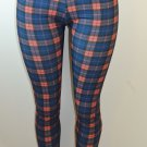 Baslco All Over Plaid Print High Waist Leggings