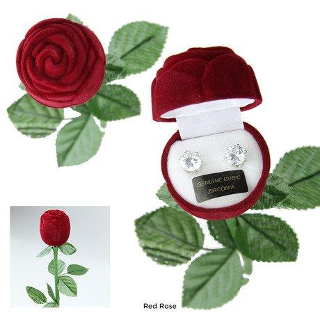 Bret Roberts 8mm Cubic Zirconia Earrings in Velveteen Rose Gift Box