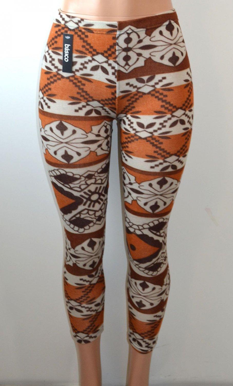 Baslco Fair Isle Style Print High Waist Leggings,Brown One Size