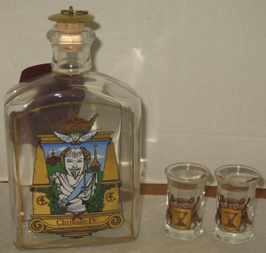 Royal Copenhagen Christian IV En Kongelig Dram Decanter with 2 Glasses Box Set