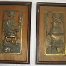 2 Vintage Brass & Wooden Framed Wall Plaques Rocker Cat Pot Belly Stove Rustic
