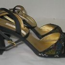 Womens 8M Ann Marino Open Toe-Black/Gold Beaded Sexy Ankle Straps Sandals Heels
