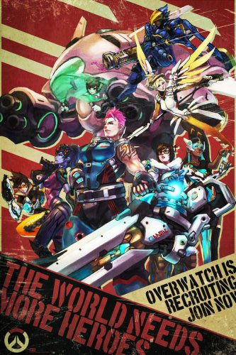Overwatch Blizzard Hot Game Silk Fabric Poster Print Home Deco Brand New 20x13""