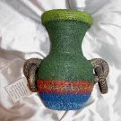 IMPORTED and HANDMADE Mexican JUG Painted Glazed COLORFUL Ceramic Pottery VASE Large MEXICO!