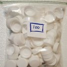100 White Plastic Caps