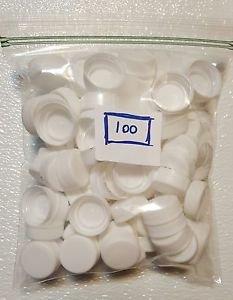 100 White Plastic Caps