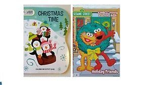 Lot of 2: Sesame Street Christmas Time Coloring and Activity Books