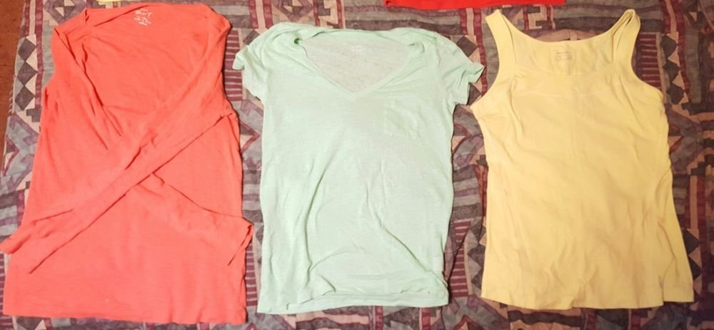 Eddie Bauer, J. Crew, Clothing lot Long and Short Sleeve Shirts and a Tank Top