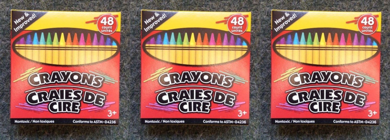 3 boxes of 48 Count Jot Crayons With Built-In Sharpener Non-Toxic  639277292926