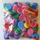 One (1) Bag of 158 Plastic Milk Caps crafts, recycle, multi-color