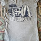 Men's Active Basic T-Shirt Grey, Pre Owned, Crew Neck - Mission Beach California