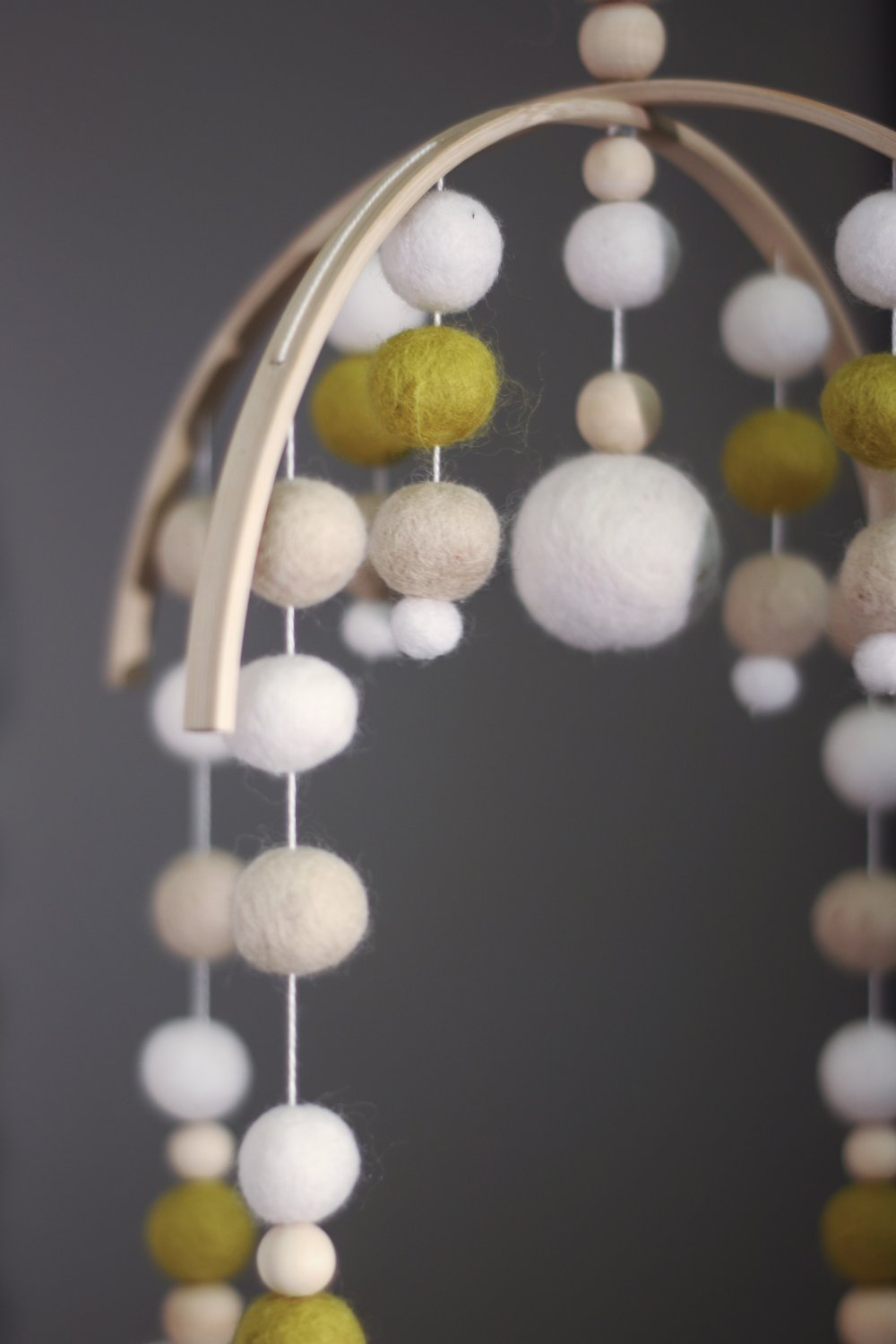 Felt ball baby mobile, baby nursery decor