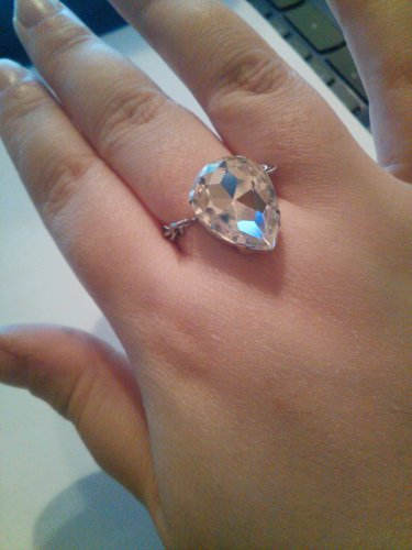 swarvoski crystal and chain ring size7/8