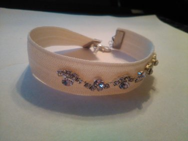ivory nude fabric and crystal bracelet