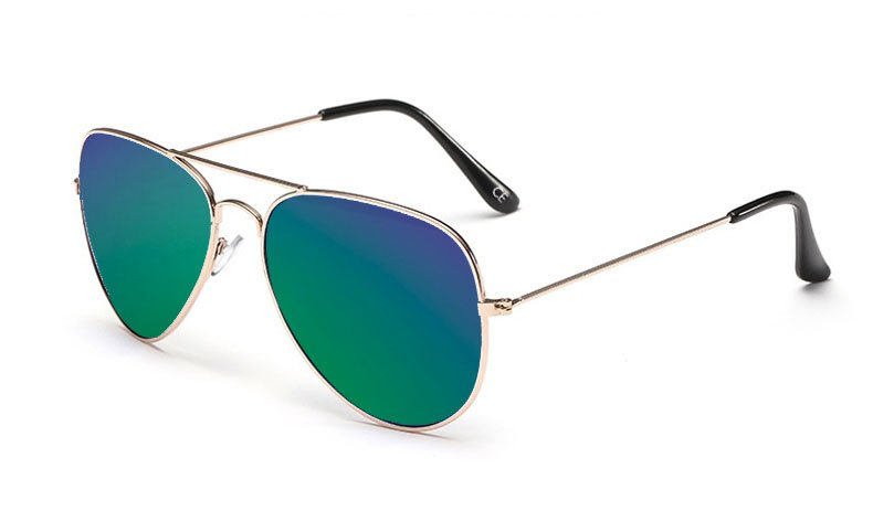 Sensolatino Italian Polarized Sunglasses Aviator Aviano Gold L Blue Green
