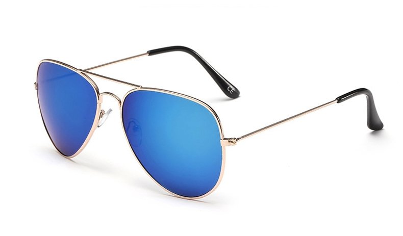 Sensolatino Italian Polarized Sunglasses Aviator Aviano Gold L Blue