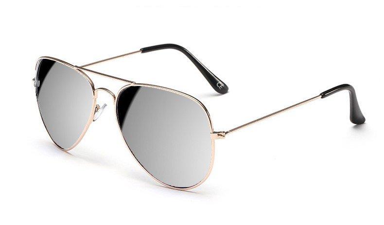 Sensolatino Italian Polarized Sunglasses Aviator Aviano Gold L Silver