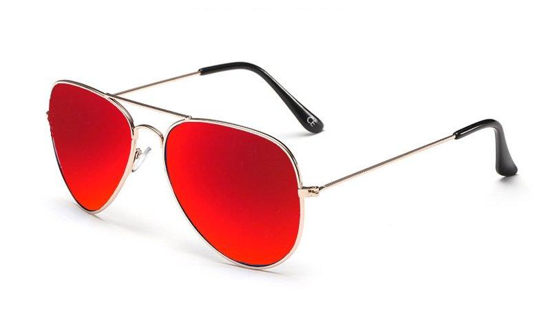Sensolatino Italian Polarized Sunglasses Aviator Aviano Gold S Red