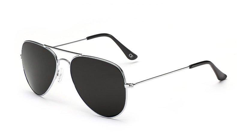 Sensolatino Italian Polarized Sunglasses Aviator Aviano Silver L Black