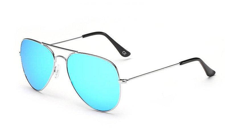 Sensolatino Italian Polarized Sunglasses Aviator Aviano Silver L Ice Blue