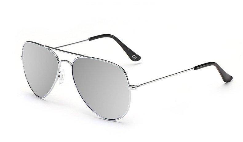 Sensolatino Italian Polarized Sunglasses Aviator Aviano Silver L Silver