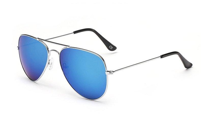 Sensolatino Italian Polarized Sunglasses Aviator Aviano Silver S Blue