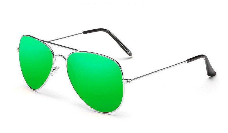 Sensolatino Italian Polarized Sunglasses Aviator Aviano Silver S Green