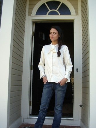 Cream Tie Neck Blouse
