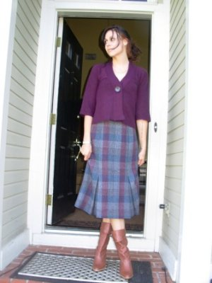 Vintage Plaid Skirt with Front Pleats